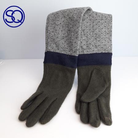 Guantes largos lana tricolor. Sagrario quilez tocados y complementos