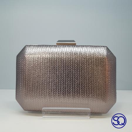 bolso polipiel metalizado platino, Tocados y complementos Sagrario Quilez (1)