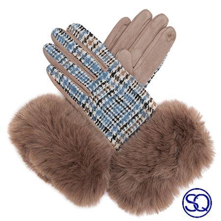 guantes arena de cuadros y pelo sagrario quilez tocados y complementos