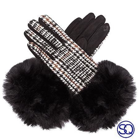 guantes negros de cuadros y pelo sagrario quilez tocados y complementos