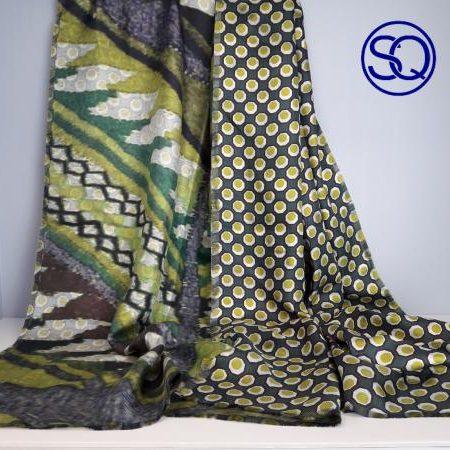 pañuelo seda en verdes de doble cara. Tocados y complementos Sagrario Quilez