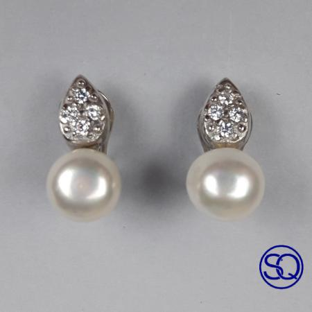 pendientes omega perla y lanza circonitas. Tocados y complementos Sagrario Quilez (4)