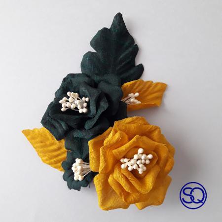 prendido flores seda verde y mostaza. Tocados y complementos Sagrario Quilez (2)