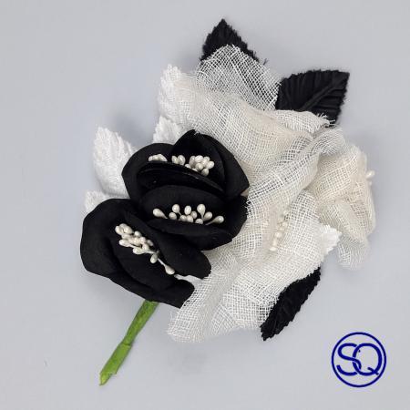 ramo de seda y lino blanco y negro Tocados y complementos Sagrario Quilez (3)