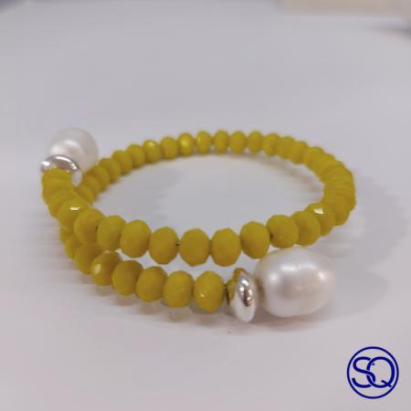 Pulsera cruzada cristal y perlas. Tocados y complementos Sagrario Quilez (6)
