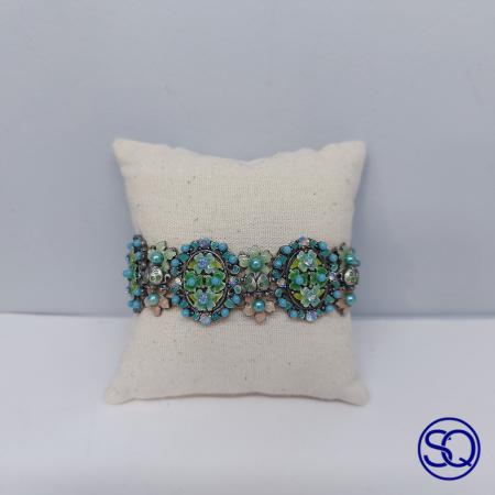 brazalete elástico isabelino turquesa y verde, Tocados y complementos Sagrario Quilez (2)