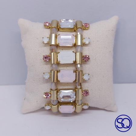 brazalete oro rosa y blanco. Tocados y complementos Sagrario Quilez (1)
