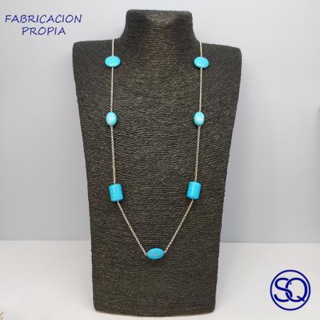 cadena plata con piedras color turquesa. Tocados y complementos Sagrario Quilez (2)