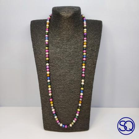 collar largo perlas multicolor. Tocados y complementos Sagrario Quilez (2)