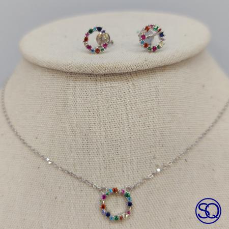 conjunto gargantilla y pendientes aro circonitas multicolor. Tocados y complementos Sagrario Quilez