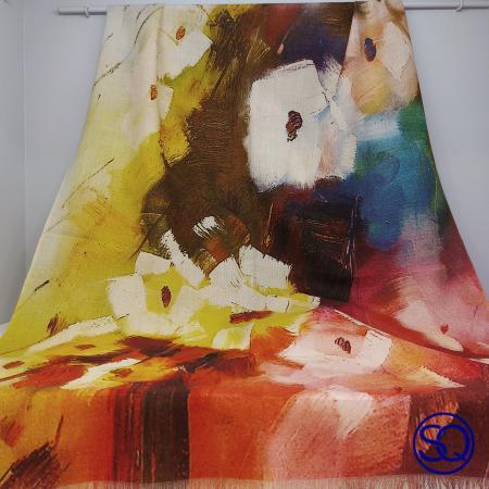 foulard lana fría flores naranja y amarillo. Tocados y complementos sagrario quilez (3)