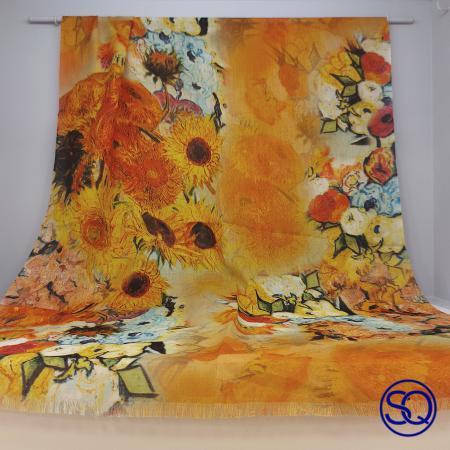 foulard lana fría girasoles. Tocados y complementos Sagrario Quilez (1)