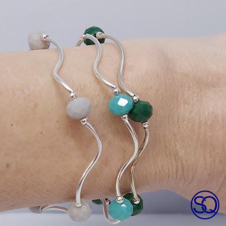 pulsera de plata de tubos y cristal. Tocados y complementos Sagrario Quilez (2)