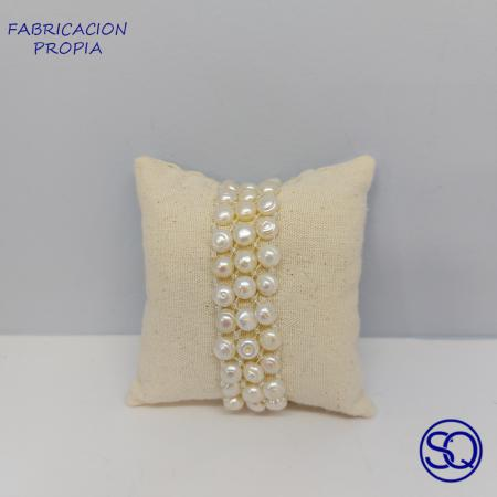 pulsera elástica de perlas cultivadas